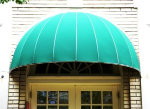 teal colored awning